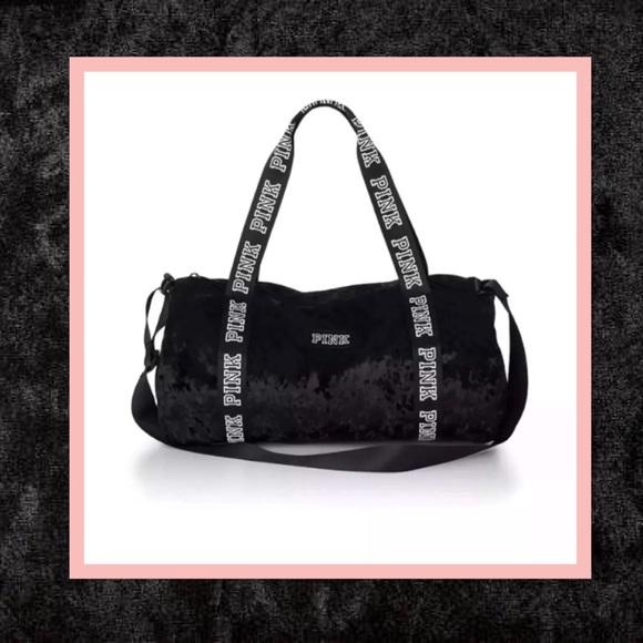 b9fe0dae44a35 Victoria's Secret Pink Velvet Duffle Bag NWT